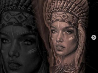 קעקוע ריאליסטי אישה בלבוש שבטי אינדיאני