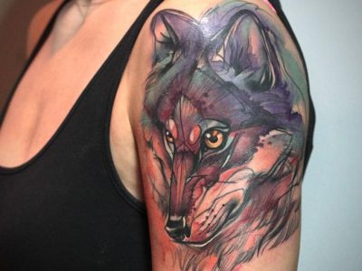 קעקוע צבעי מים הזאב הרע קעקוע בצבע