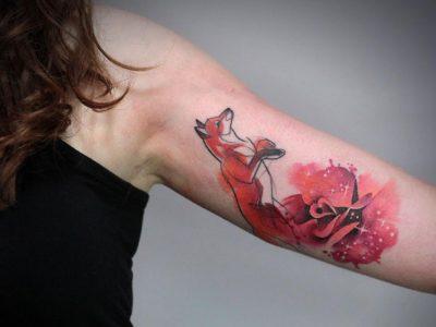 קעקוע צבעי מים שועל ורד