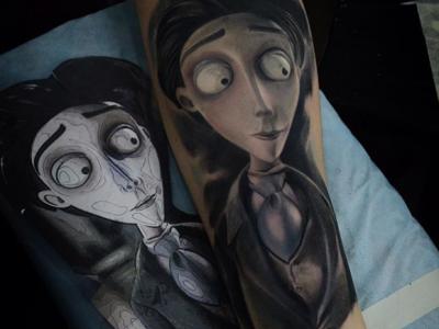 קעקוע מצויר מהסרט חתונת הרפאים טים ברטון